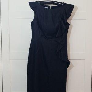 Side Ruffle Denim Sheen Dress